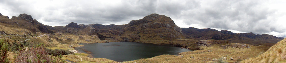 The panoramic view of lagoons and lakes in El Cajas National Park (Ecuador)