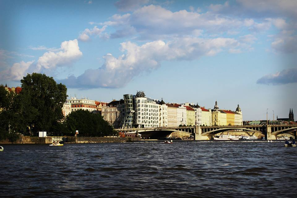 The view over Prague from the Vltava River.