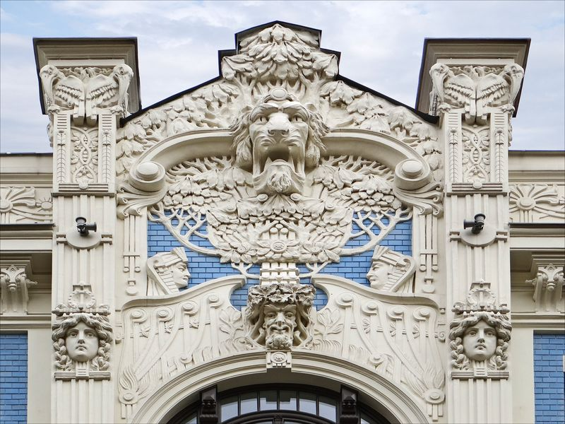 Art Nouveau details of one of the buildings in Riga, Latvia