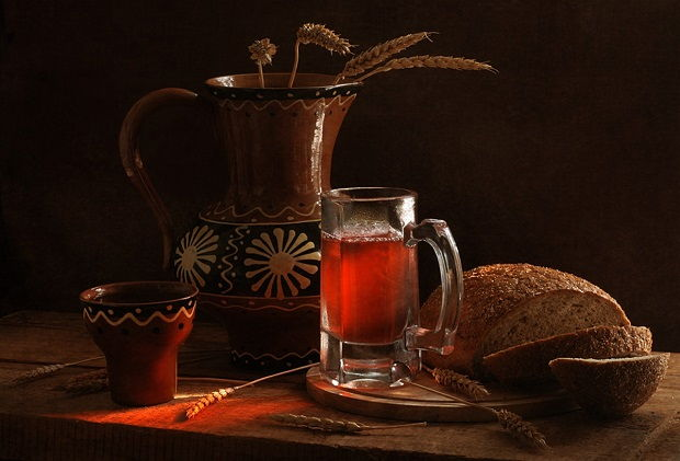 Kvass is a rye bread drink with a small amount of alcohol in it (1.2%).