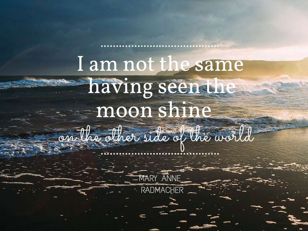 I am not the same having seen the moon shine on the other side of the world - Mary Anne Radmacher