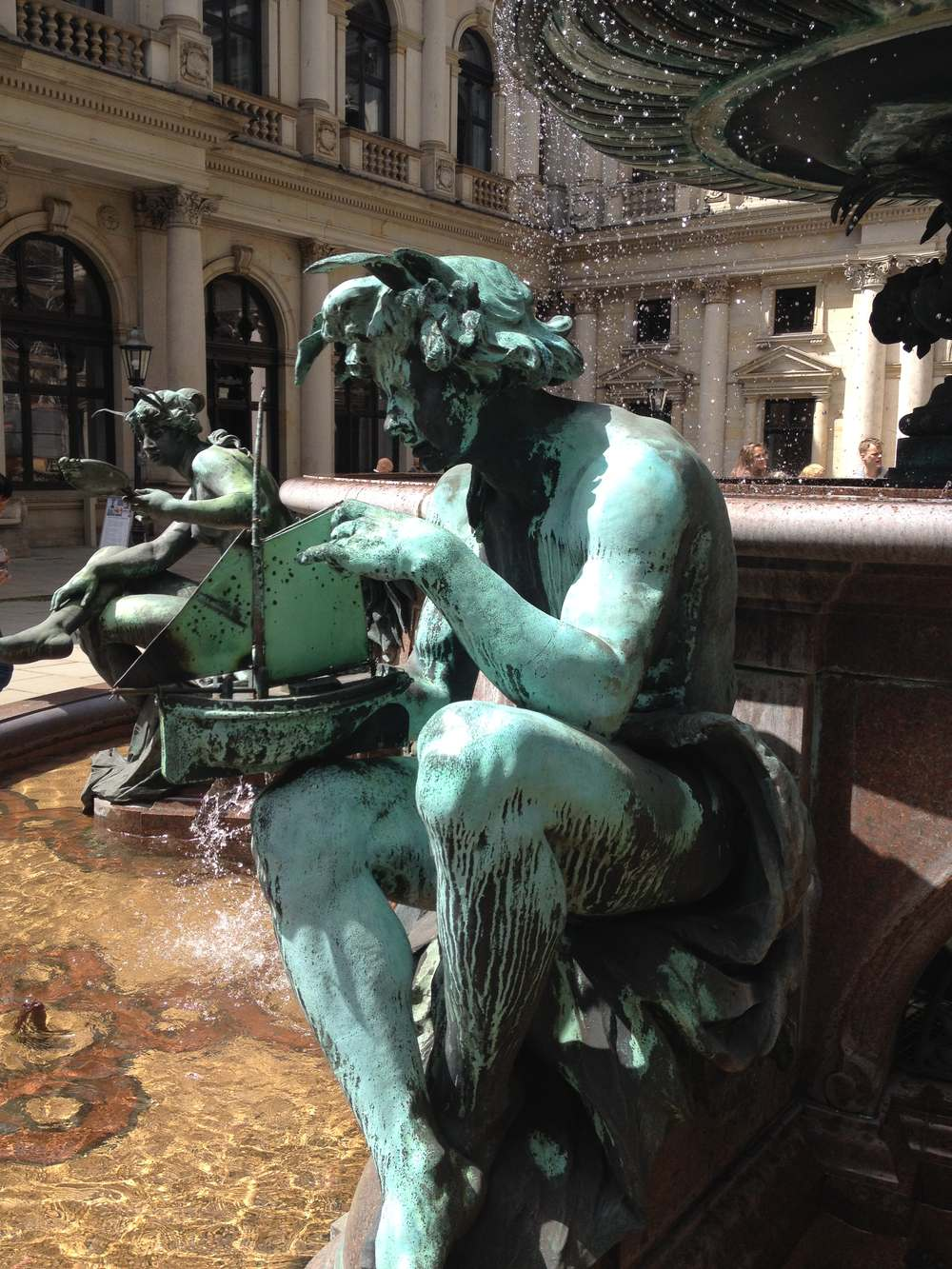 The fountain element in the Town Hall Square in Hamburg, Germany