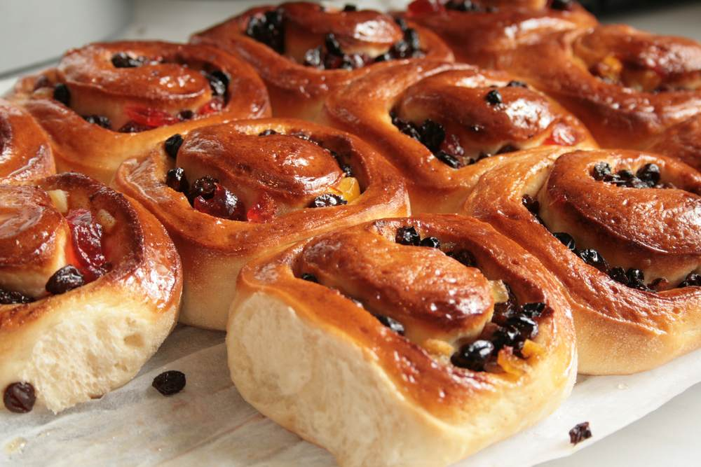 Chelsea buns, a typical English dessert