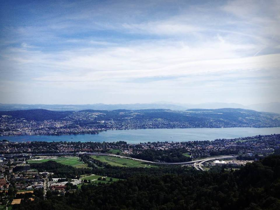 The view over Zurich from Uetliberg's look-out tower