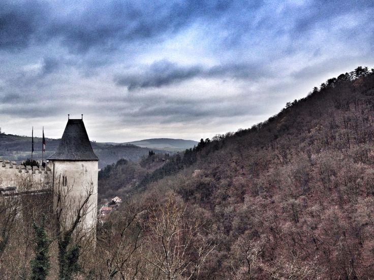 The gorgeous view over the valley from the Karlstejn Castle, Czech Republic